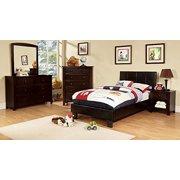 Besson Leather PU Platform 4 Piece Twin Bed, 1 Nightstand, Dresser, Mirror - Espresso