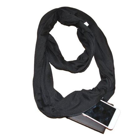 Additional Zippered Pockets - Fashion Convertible Infinity- Scarf With Pocket Loop Scarf Women Winter Zipper Pocket