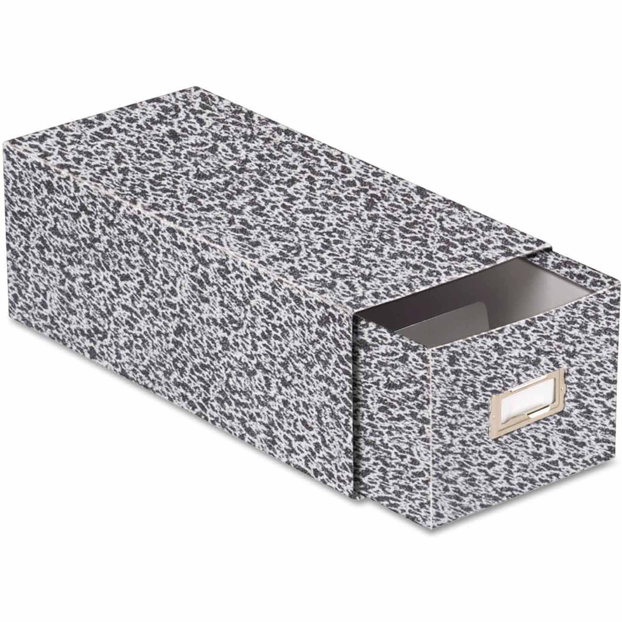 "Oxford Reinforced Board Card File with Pull Drawer, Holds 1500"" 4"" x 6"" Cards, Black Marble"