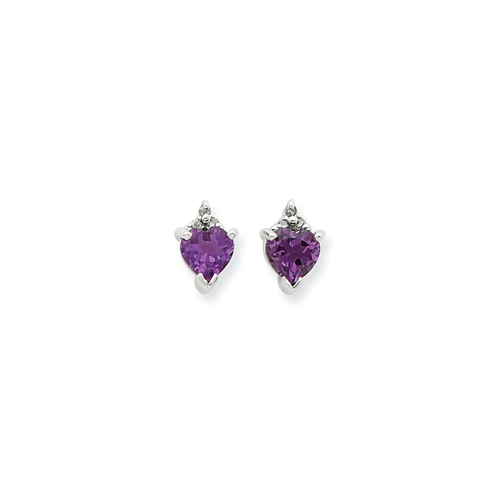 Silver Heart Amethyst & Diamond Post Earrings. Total Carat Wt- 0.85ct. (9MM Long x 5MM Wide)