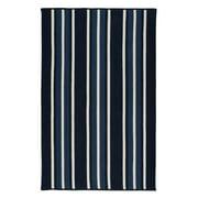 5' x 7' Black and Blue Striped Rectangular Area Throw Rug