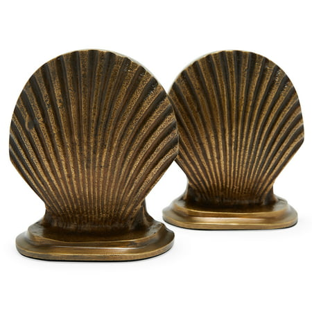 Antique Brass Sea Shell Bookends by Drew Barrymore Flower Home