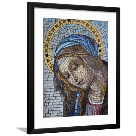 Mosaic of the Virgin Mary, Milano Monumental Cemetery, Milan, Lombardy, Italy, Europe Framed Print Wall Art By Godong