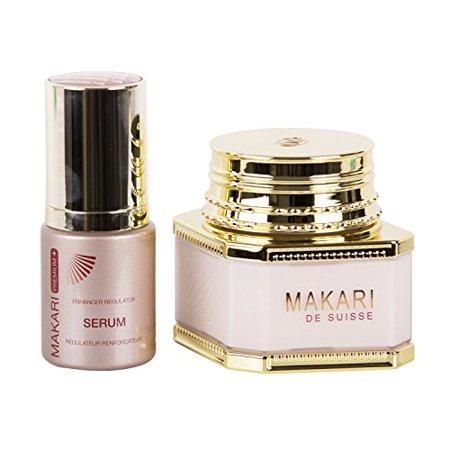 Makari Classic Duopack Premium+ – 3.38 fl.oz Whitening Cream Day/Night & 1.01 fl.oz Enhancer Regulator Serum – Lightening & Toning System for Dark Spots, Acne Scars &
