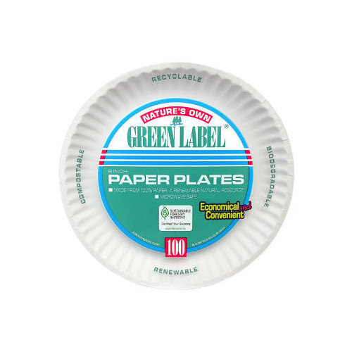 AJM Packaging Corporation  Uncoated Paper Plate in White