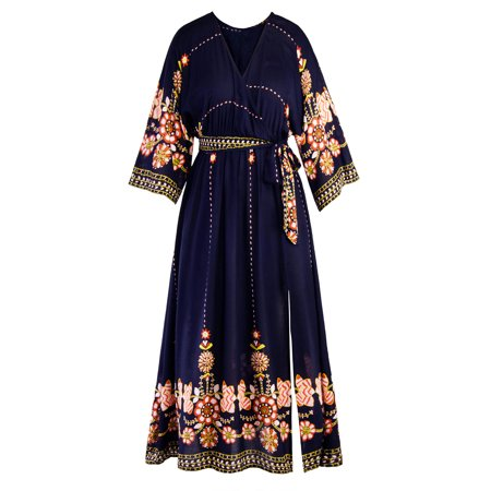 Plus Size Women's Bohemia Long Maxi Dress Split Side Folk Flower V Neck Gypsy Ethnic Peasant Summer Beach Party Cocktail - Medieval Peasant Dresses