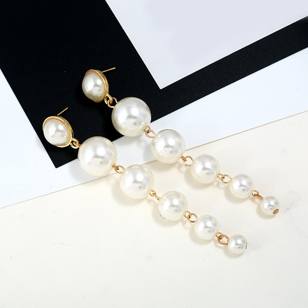 1pair Pearl Long Earring Pearls Statement Dangle Earrings Wedding Party Gift NEW