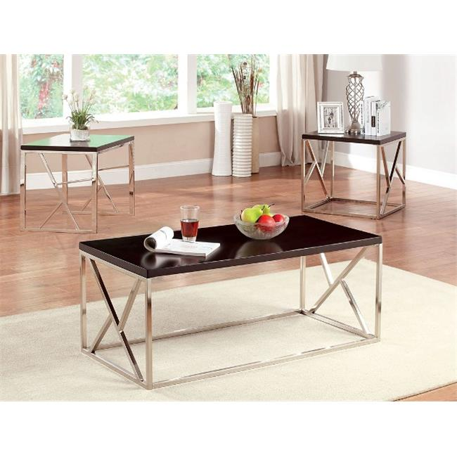 Furniture Of America IDF-4811-3PK Table Set Top With Cross Bar Chrome Legs, 3 Pieces - Espresso