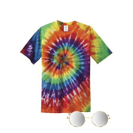 70s Hippie Costume Kit ( Includes T-shirt and Mirror Lens Sunglass ) - Costume Contact Lenses