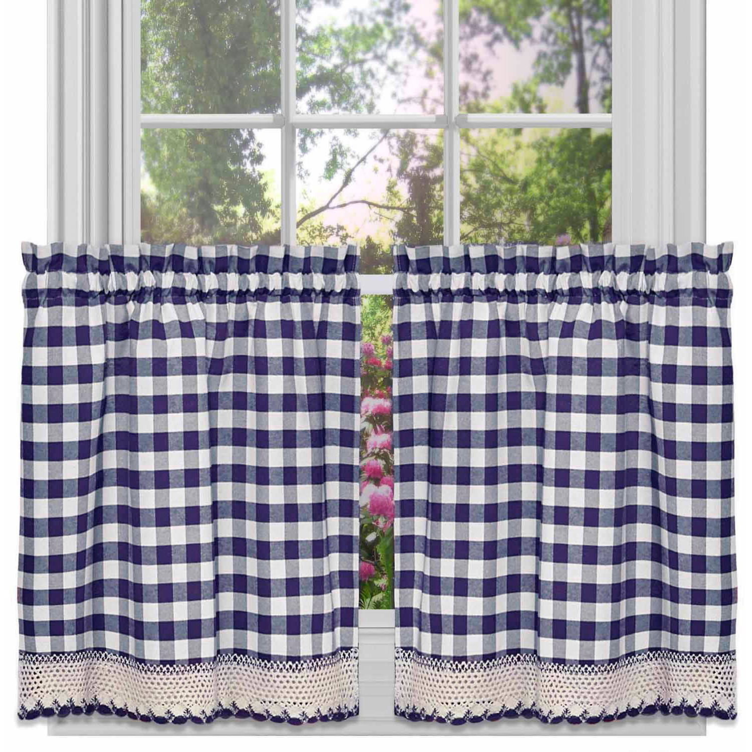 Buffalo Check Kitchen Curtains, Set of 2 Available In Multiple Sizes And Colors