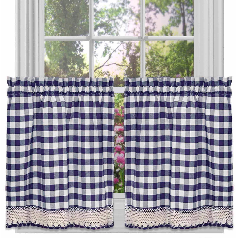 Achim Buffalo Check Kitchen Curtains, Set of 2 Tiers
