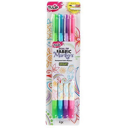 Tulip Bright Dual-Tip Fabric Marker, 4 Piece