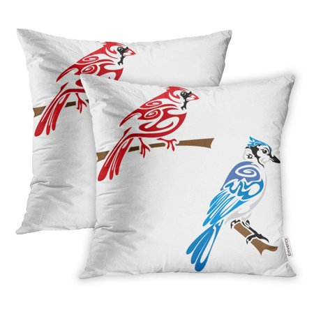 CMFUN Blue Cardinal Tribal Birds Animal Jay Original Tattoo Tattoo Tattoos Wildlife Pillowcase Cushion Cases 18x18 inch Set of 2 - Tattoos Birds