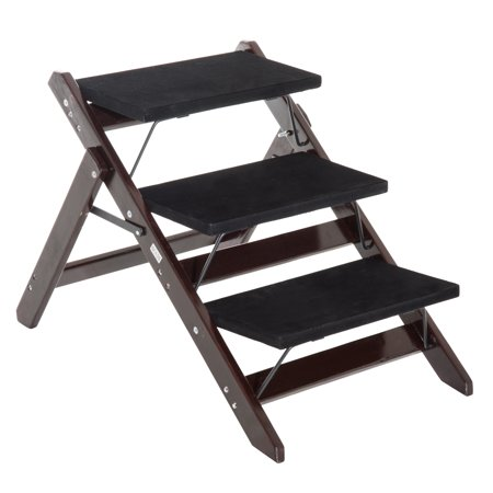 Pawhut 3 Step Folding Wood Convertible Pet Ladder Dog