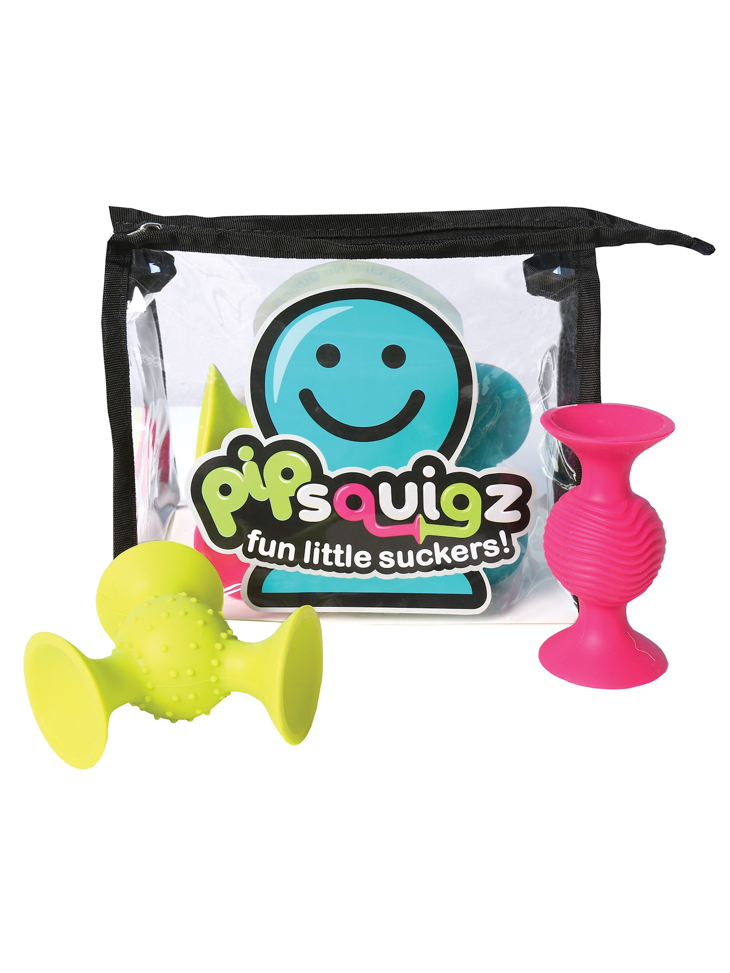 Fat Brain Toys PipSquigz 6 Piece Set with Storage Bag Exclusive Rattle Suction Toy Building Set with Bonus... by FAT BRAIN TOYS