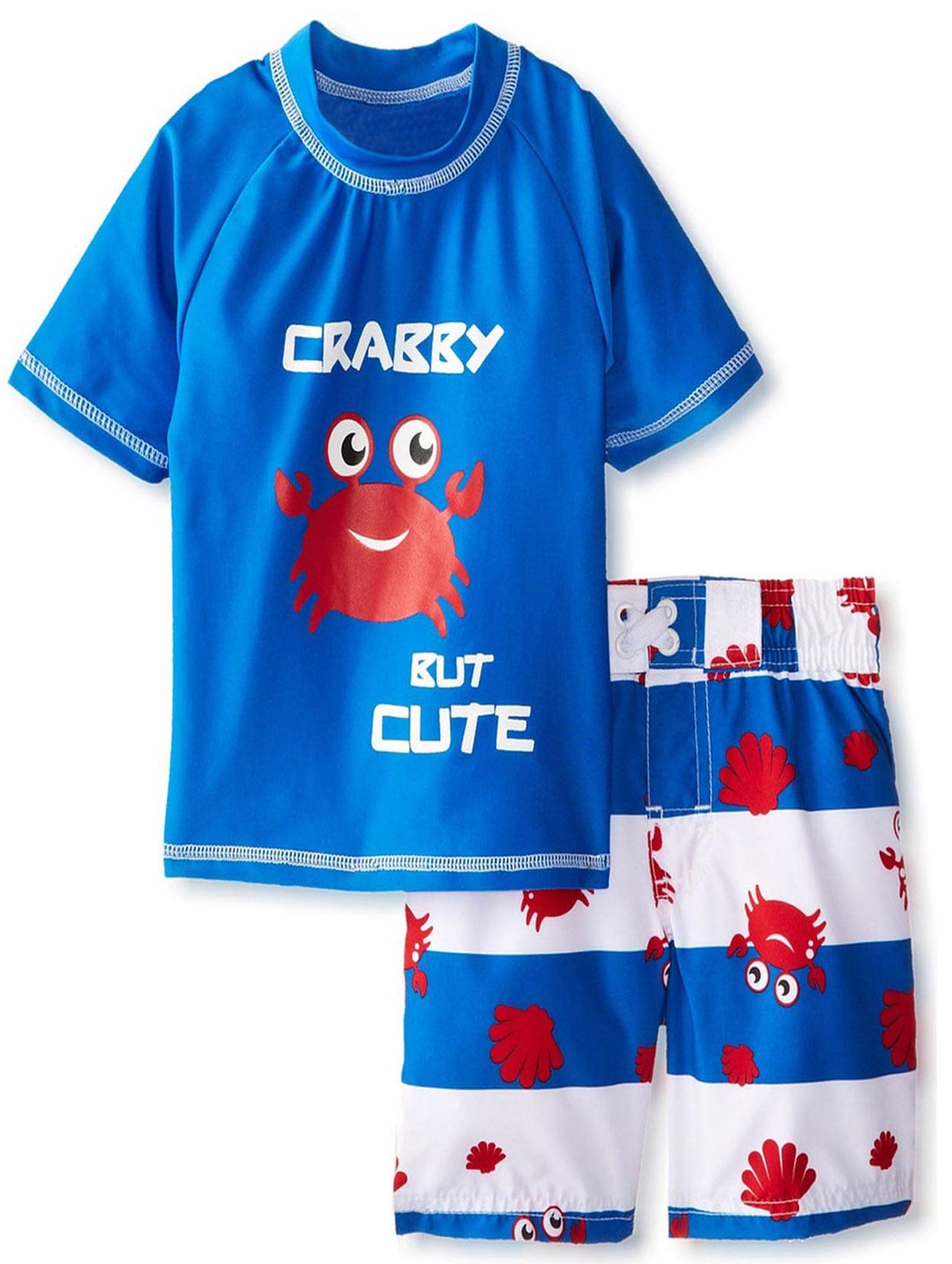iXtreme Toddler Boy Swimwear Cute Crab Short Sleeve Shirt Rashguard Swim Board Short Trunk Set by iXtreme