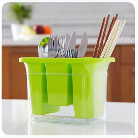 Household Kitchen Plastic 3 Compartments Spoon Chopsticks Case Cage Holder Green - image 1 de 4