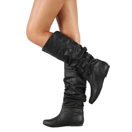 Womens Slouch Mid-Calf Boots Ladies Flat Slip On Knee High Boot Shoes
