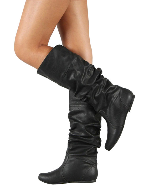 Women PU Leather Flat Mid Calf Knee High Slouch Boots Lady Casual Shoes Outdoor