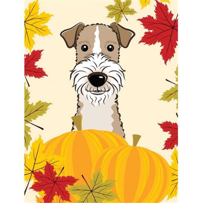 Wire Haired Fox Terrier Thanksgiving Flag Garden