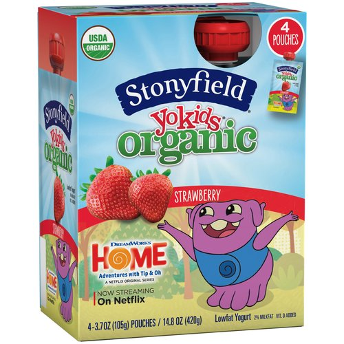 Stonyfield Organic YoKids Squeeze! StrAWESOME Organic Strawberry Lowfat Yogurt, 3.7 oz, 4 ct