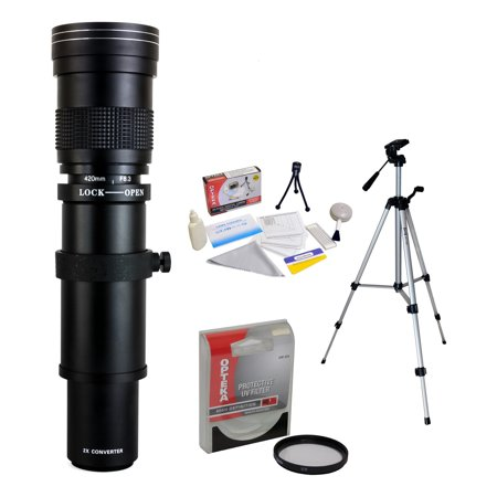 Opteka 420-800mm f/8.3 HD Telephoto Zoom Lens with UV Filter and Tripod for Pentax Pentax K-1, K-3 II, KP, K-70, K-S2, K-S1, K-500, K-50, K-30, K-7, K-5, K-3, K20D, K100D and K10D Digital SLR (Best Pentax Digital Lenses)