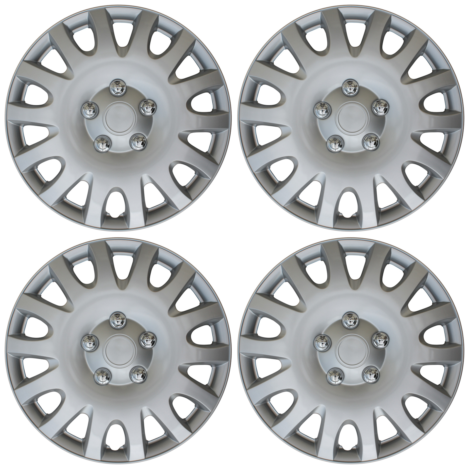 """4 Pc Set of 16"""" Inch ABS Silver Hub Caps Wheel Cover for OEM Steel Rim Caps"""