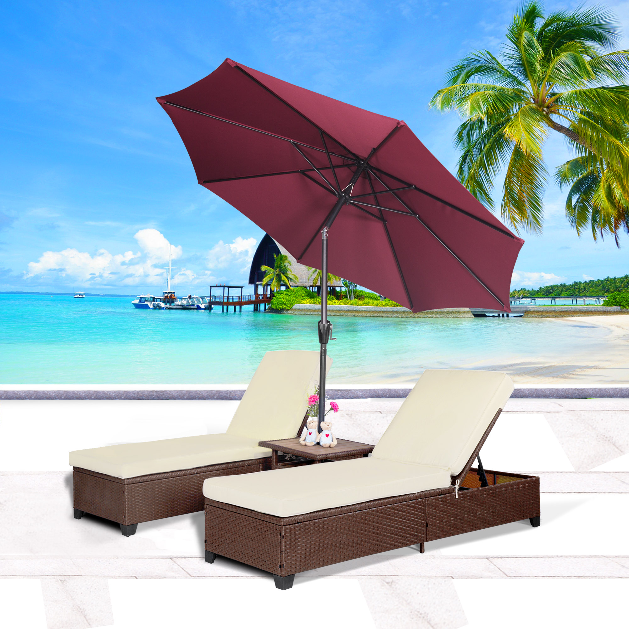Cloud Mountain 4PC Outdoor Rattan Chaise Lounge Chair with 9' Umbrella Patio PE Wicker... by Cloud Mountain