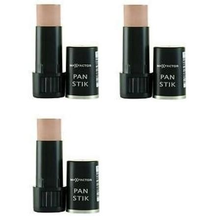 Max Factor Pan Stik Foundation #60 Deep Olive (Pack of 3) + Makeup Blender Stick, 12