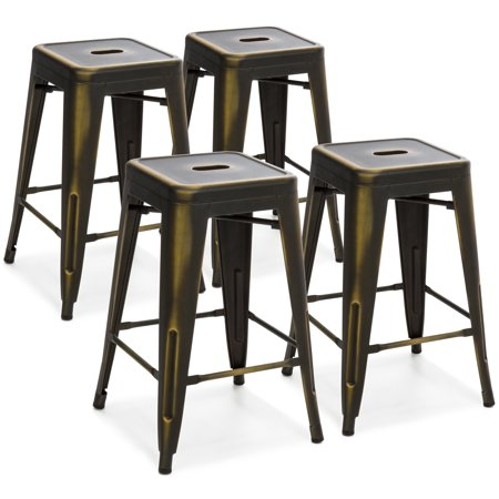 Best Choice Products 24in Set of 4 Stackable Modern Industrial Distressed Metal Counter Height Bar Stools - Copper (Copper Flat Bar)