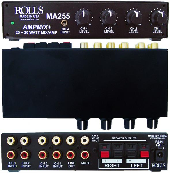 Rolls MA255 Stereo 20w Mixer Amp 4 Rca