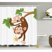 Cartoon Decor Shower Curtain Set, Funny Monkey Hanging From Tree And Holding Banana Jungle Animals Theme Mascot Print, Bathroom Accessories, 69W X 70L Inches, By Ambesonne