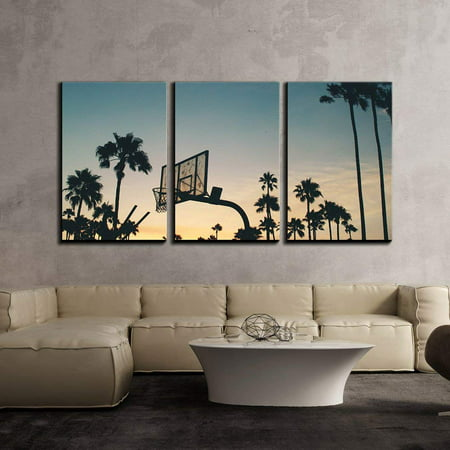 """wall26 - 3 Piece Canvas Wall Art - Basketball Stands and Palm Trees Under The Sunset - Modern Home Decor Stretched and Framed Ready to Hang - 16""""x24""""x3 Panels"""