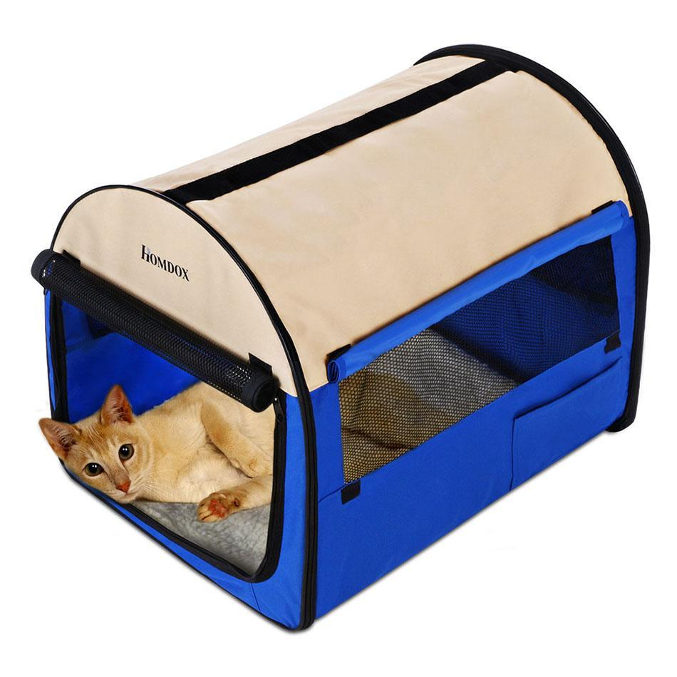 New Homdox 38inch Blue Oxford Portable Folding Pet Dog Soft Carrier Cage Home Crate Case PESTE
