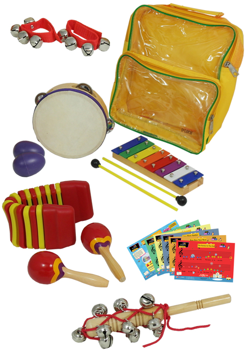 D'Luca Percussion 7 Pack with Glockenspiel, Tambourine, Maracas, Egg Shakers, Wrist Bells... by D'Luca