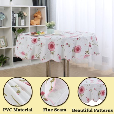 "Vinyl House Wedding Tablecloth Round Tables 60"" Dia Red Flower Pattern - image 2 de 8"
