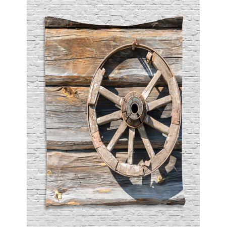 - Barn Wood Wagon Wheel Tapestry, Old Log Wall with Cartwheel Telega Rural Countryside Themed Image, Wall Hanging for Bedroom Living Room Dorm Decor, Umber Beige, by Ambesonne