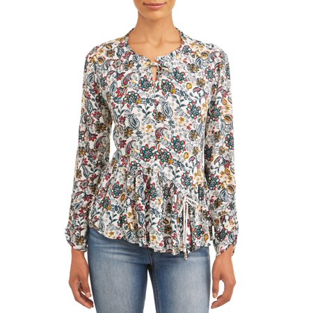 Women's Peasant Top (Floral Silk Peasant Top)
