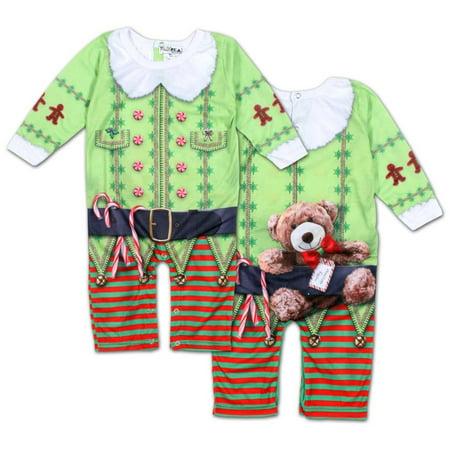 Infant Long Sleeve: Christmas Elf Romper with Legs Infant Bodysuit - Sublimatio