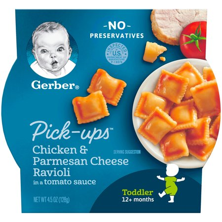 Gerber Pasta Pick-Ups, Chicken and Parmesan Cheese Ravioli in Tomato Sauce, 4.5 oz. - Gerber Graduates Chicken