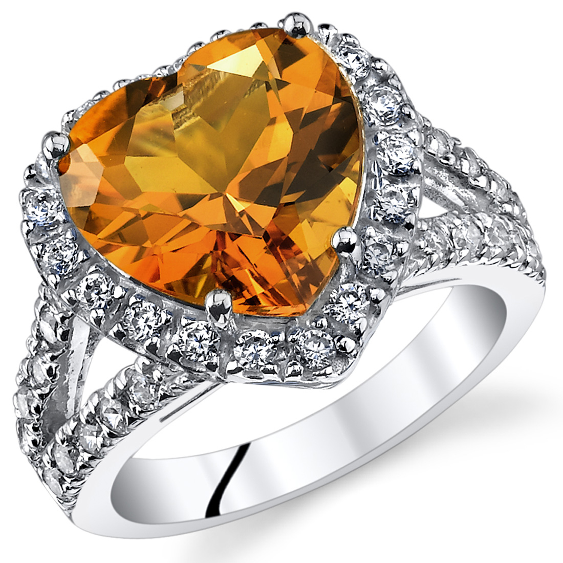 Peora 3.75 Ct Citrine Engagement Ring in Rhodium-Plated Sterling Silver