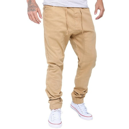 Mens Athletic Slim Jogger Trousers Harem Cargo Twill Pants