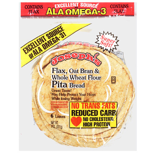 Josephs: Flax, Oat Bran & Whole Wheat Flour Pita Bread, 8 Oz