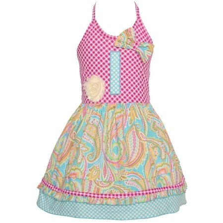 Sophias Style Exclusive Baby Girl Blue Paisley Check Halter Birthday Dress 12M-24M