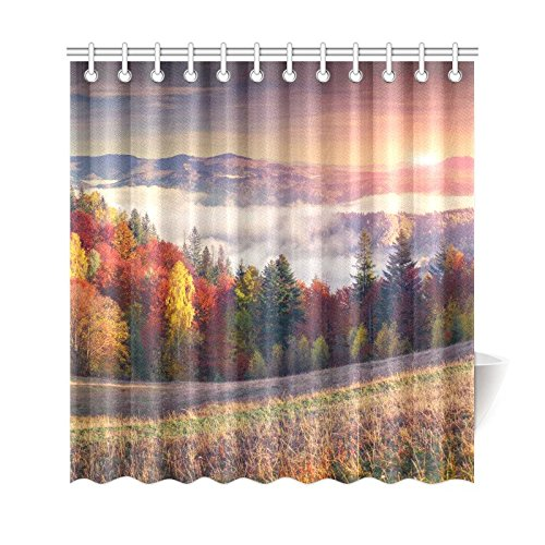 GCKG Colorful Autumn Shower Curtain, Mountain Sunrise Polyester Fabric Shower Curtain Bathroom Sets 66x72 Inches - image 3 of 3