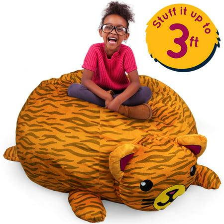 Orange Cat Stuffums, 3ft Stuffed Animal Storage Bean Bag Chair Holds 50 (Animas Store)