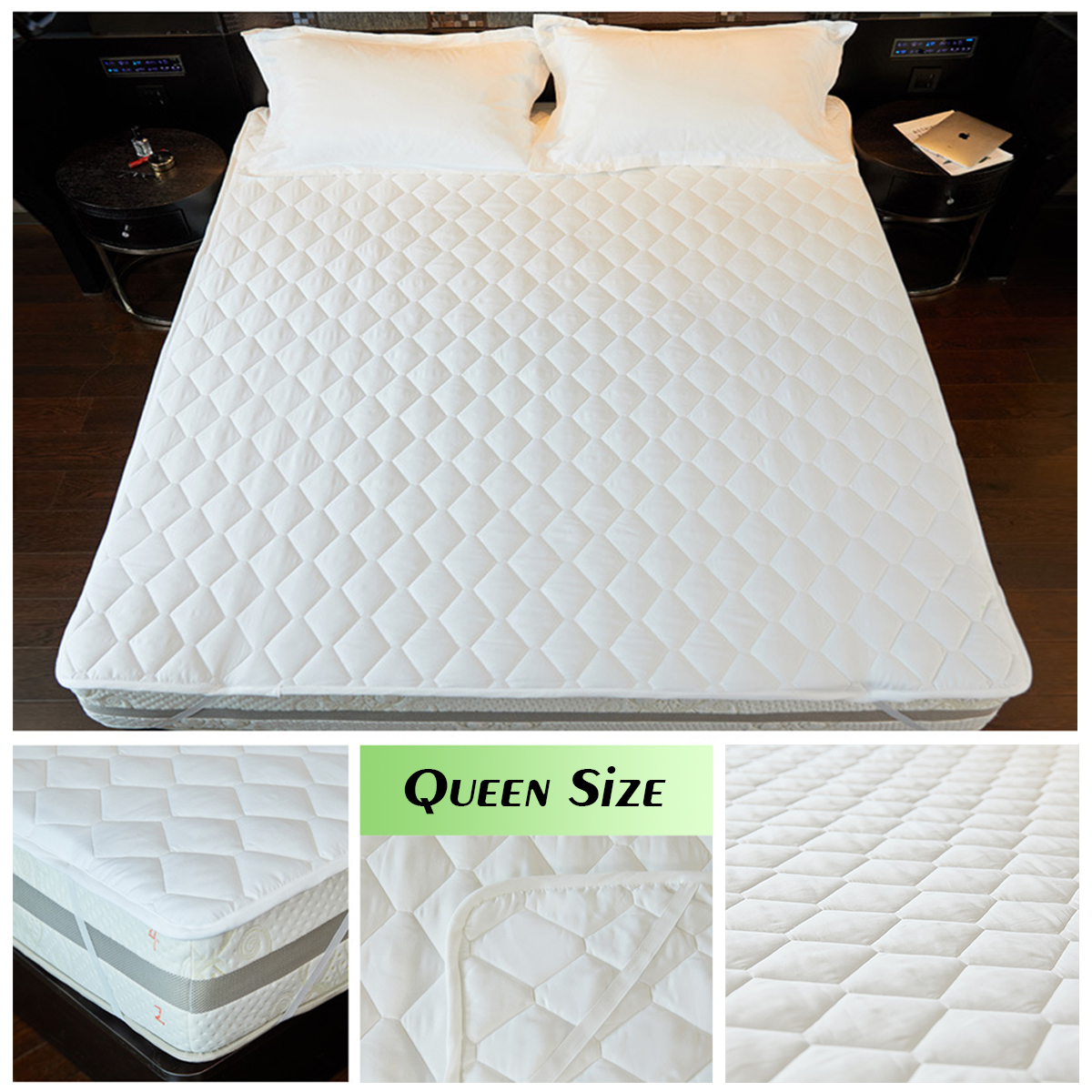Queen 60 Inch X 80 Inch White Queen Size Mattress Pad ...