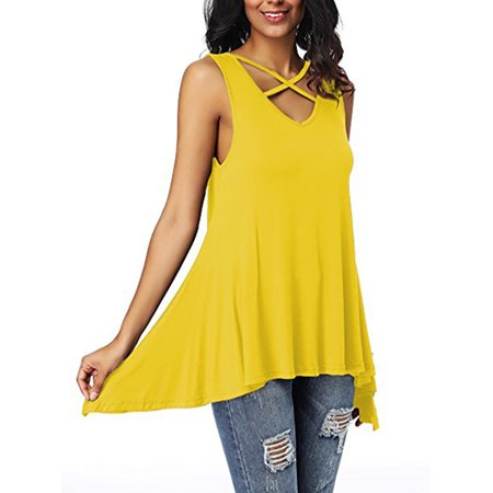 Tunic Tops Women Sleeveless Tank Blouse Summer Holiday Cross V Neck T Shirts Casual Loose Asymmetric Hem High Low Top