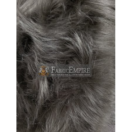 Faux Fur Fabric Long Pile Shaggy Pewter GRAY 60 Wide Sold by The Yard ()
