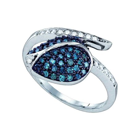 Size 8 - 10k White Gold Blue Diamond Ladies Classy Tulip Flower Cluster Fine Ring (1/2 Cttw)